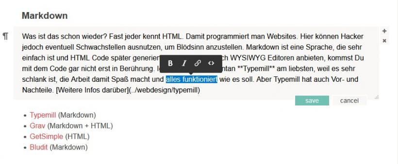 typemill editor